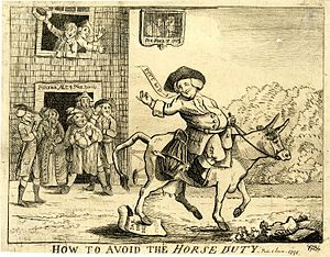 Stockport - A satirical print from 1784 of Jonathan Thatcher a Cheshire farmer riding his cow to Stockport market in protest at Pitt the Younger's 1784 budget introducing taxes on horse ownership.