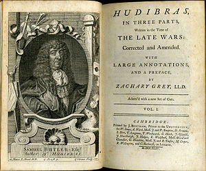 Samuel Butler (poet) - Frontispiece and titlepage of a 1744 illustrated and annotated edition of Butler's Hudibras