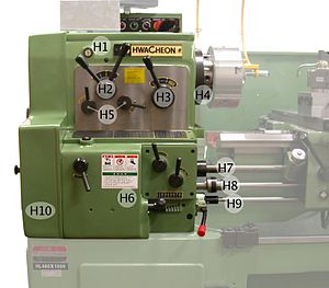 Metal lathe - Headstock with legend, numbers and text within the description refer to those in the image