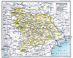 Hyderabad (yellow) and Berar is not shown (not a part of Hyderabad but also Nizam's Dominion) (surrounded by India.)