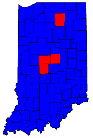 United States Senate election in Indiana, 1998 - Image: IN Sen Counties 98