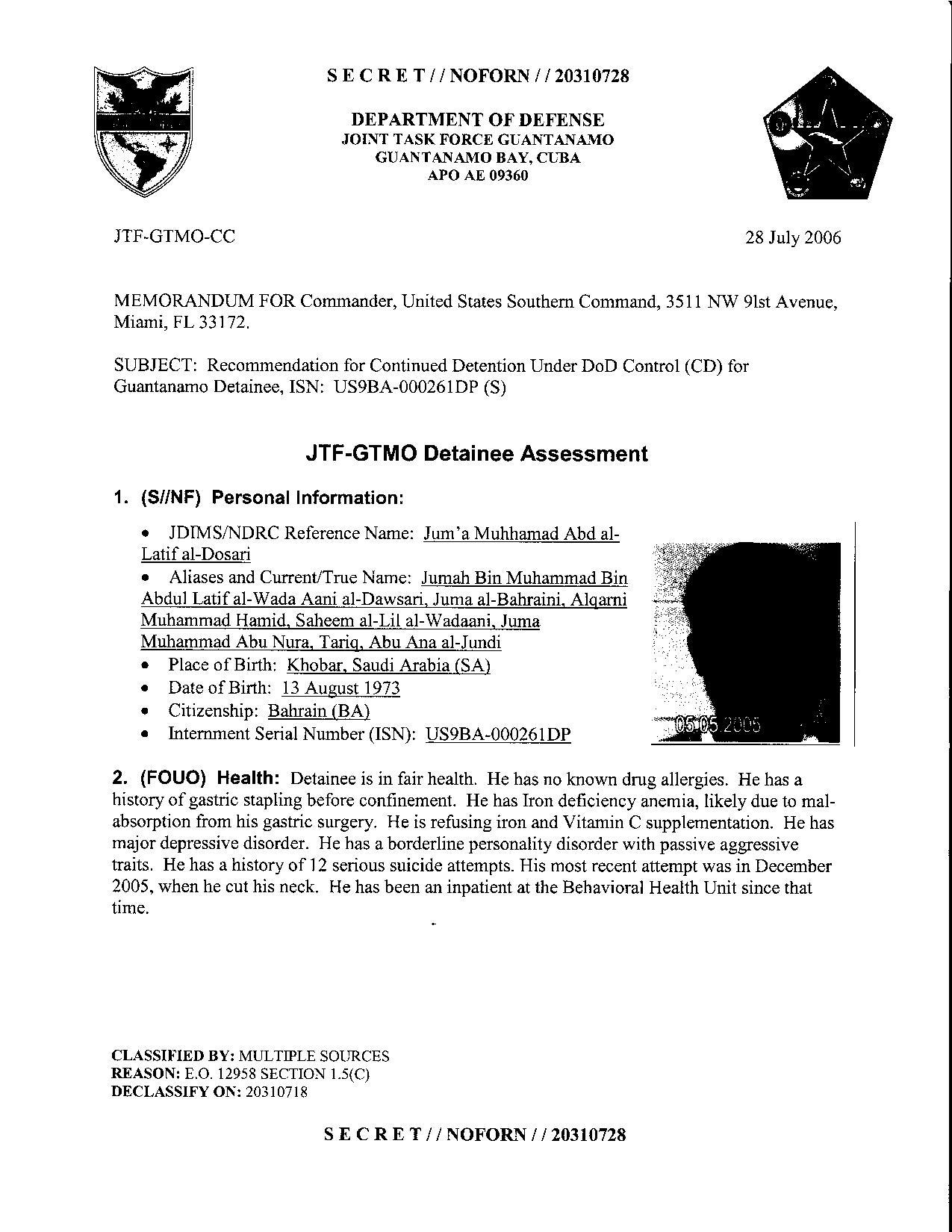 ISN 261's Guantanamo detainee assessment.pdf