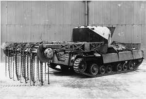 Mine flail - Experimental flail mounted on a Valentine tank; the Valentine Scorpion was never used operationally.
