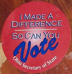 English: sticker passed out to voters by the O...