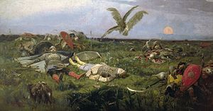 The Tale of Igor's Campaign - The field of Igor Svyatoslavich's battle with the Polovtsy, by Viktor Vasnetsov.