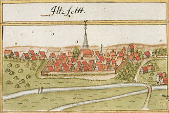 Ilsfeld - Depiction of Ilsfeld on Andreas Kieser's 1685 forestry map
