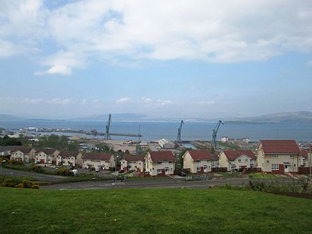 View looking north over the Inchgreen Drydock and repair quay, with the Greenock Great Harbour to the left, after the announcement that the dry dock cranes are to be demolished. Inchgreen Drydock and repair quay,.jpg