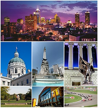 Indianapolis - From top to bottom, left to right: Downtown Indianapolis skyline, Indiana Statehouse, Soldiers' and Sailors' Monument, Indiana World War Memorial Plaza, Butler University, Lucas Oil Stadium, and Indianapolis Motor Speedway