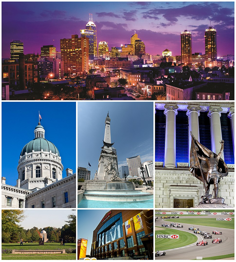 From top to bottom, left to right: Downtown Indianapolis skyline, Indiana Statehouse, Soldiers' and Sailors' Monument, Indiana World War Memorial Plaza, Butler University, Lucas Oil Stadium, and Indianapolis Motor Speedway