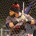 Indians DH Carlos Santana takes batting practice at Wrigley Field. (30009630123).jpg