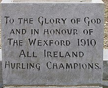 Inscription on hurling champions monument, Castlebridge - geograph.org.uk - 1281829.jpg