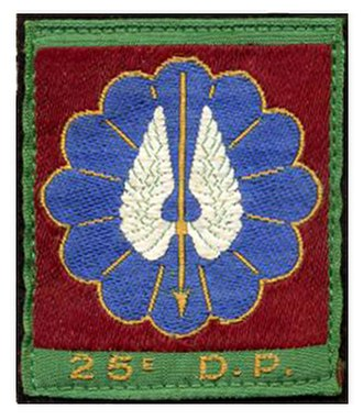 25th Parachute Division (France) - 25eD.P. Shoulder Arm Insignia featuring  Golden White Winged Spear