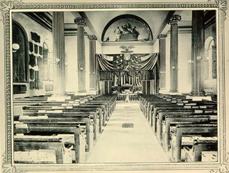 Old Cadet Chapel (West Point) - Image: Interior of the Old Cadet Chapel, West Point, NY 1896