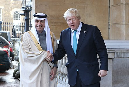 Foreign Minister Adel al-Jubeir with British Foreign Secretary Boris Johnson in London, 16 October 2016 International Syria meeting (29734397483).jpg