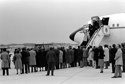 The hostages disembark Freedom One, an Air Force Boeing C-137 Stratoliner aircraft, upon their return. Iran hostages return.jpg