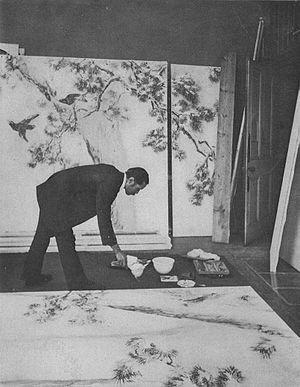 Ishibashi Kazunori - Ishibashi Kazunori in his studio, with winter panels for The London Hospital