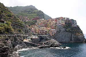 Manarola, one of the five coastal villages in the National Park of the Cinque Terre.