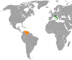 Map indicating locations of Italy and Venezuela