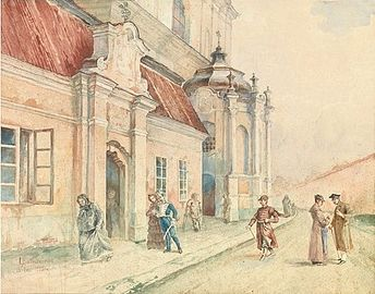 Józef Bałzukiewicz 1912 Subačiaus Street by the Missionaries Church in Vilnius.jpg