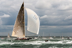 Velsheda sailing under spinnaker and mainsail
