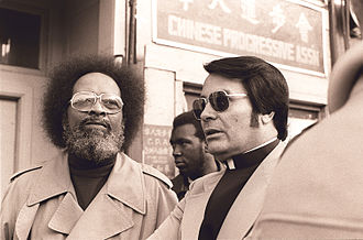 Jim Jones - Rev. Cecil Williams and Jones protest evictions at the International Hotel in San Francisco, January 1977