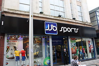 JJB Sports - JJB, Belfast, showing the brand's final logo and colours. (2010)