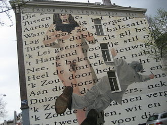 Jacob van Lennep - Wall poem (To a Rose) in Amsterdam