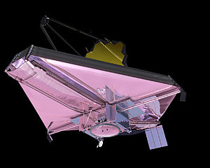"""Sunshield (JWST) - The """"hot"""" side of JWST with the sunshield protecting the main optics from sunlight"""