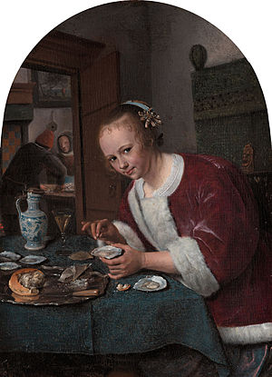 Eating live seafood - Girl eating oysters, circa 1658 by Jan Steen