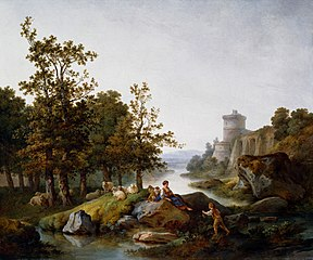 Landscape with a Shepherdess and a Boy Fishing
