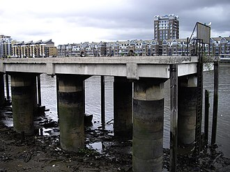 Fulham Power Station - A jetty nearby the power station allowed access to the coaling yard