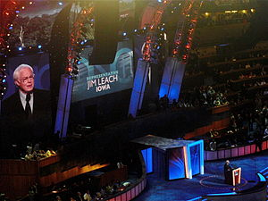 Party switching in the United States - Former U.S. Representative Jim Leach, a Republican, speaks during the first night of the 2008 Democratic National Convention.
