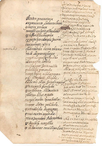 Joan Perez de Lazarraga - A page in Lazrraga's own handwriting