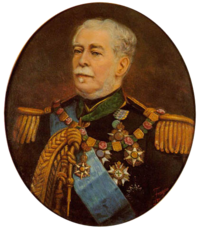 Half-length painted portrait depicting a gray-haired man with moustache wearing a military tunic with epaulettes, lanyards, blue sash, and several medals and orders on his breast and at his neck
