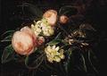 Johan Laurentz Jensen - Buket af lyserøde roser og blomstrende frugtgrene.png