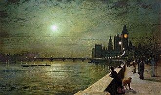 John Atkinson Grimshaw - Image: John Atkinson Grimshaw, Reflections on the Thames, Westminster,1880