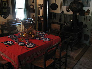 John Deere House and Shop - The period decorated kitchen and dining room were part of the first addition to the home.