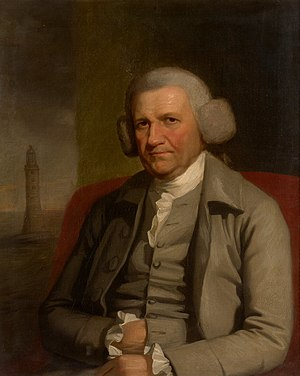 John Smeaton - Portrait of John Smeaton, with the Eddystone Lighthouse in the background