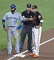 Jose Bautista, Ed Hickox, Manny Machado (33965030113).jpg