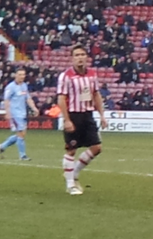 Jose Baxter playing for Sheffield United
