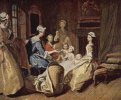 Domestic scene of a mother teaching four children, surrounded by four servants. The mother and children are at the center of the painting while the servants are in a circle around them. The mother looks away from the audience towards her children, and the children look towards her and out towards the audience. One of the children is elegantly dressed in a red coat and appears to be a teenager; the other three appear to be under the age of 10, one an infant, and all wearing white.