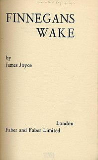 <i>Finnegans Wake</i> 1939 novel by James Joyce