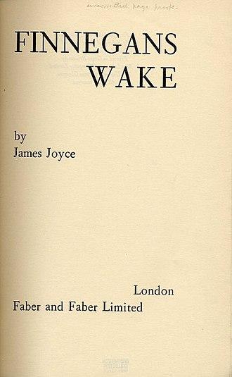 Finnegans Wake - Image: Joyce wake