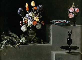 Juan van der Hamen - Still life with flowers, artichokes and glassware, 1627 Museo del Prado