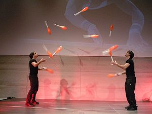 Forms of juggling - Manuel and Christoph Mitasch, world record holding club passers.