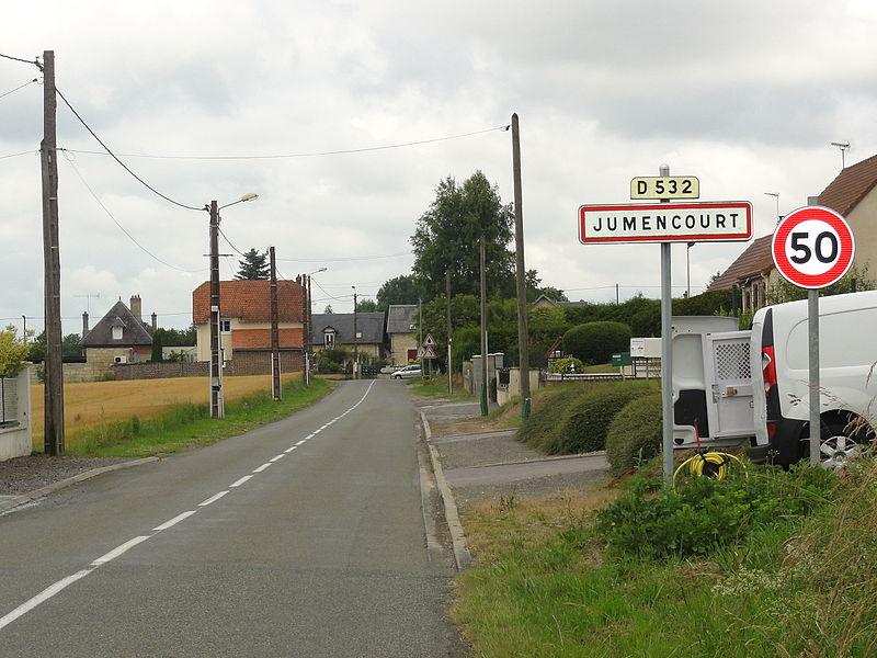 Jumencourt (Aisne) city limit sign