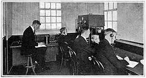 KDKA (AM) - Circa 1921 photograph of the 9th floor KDKA transmission room.