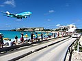 KLM Airplane Landing Passing Over Maho Bay Beach 2 (6544006269).jpg