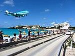 KLM Airplane Landing Passing Over Maho Bay Beach 2 (6544006269).jpg