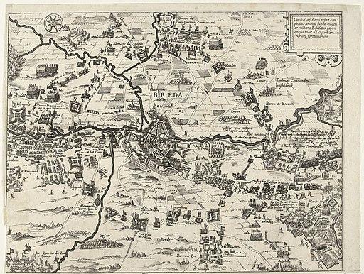 Kaart van het beleg van Breda, 1624 Circulus obsidionis nostrae complectitur ambitu supra quatuor milliaria Equitatus (titel op object), RP-P-OB-81.085
